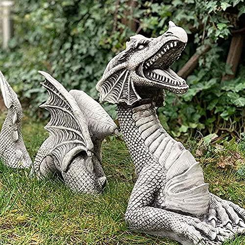 Dragon Garden Statuen Ornamente, Drachen Gothic Gartendeko Statue, der Drache von Moat Rasen Skulptur, Yard Kunstharz Fantasie Tierskulpturen Ornamentsfor -Garten, Rasen Outdoor Decor