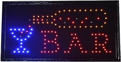Bar Pub Signo Luces de Neon LED Animado Clientes Atractivo Cartel con Colgar Cadena UK