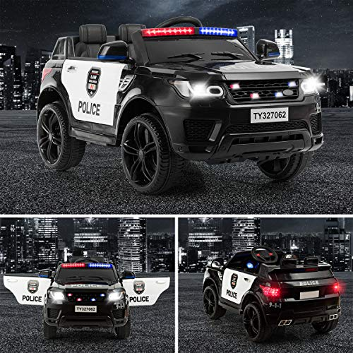 Costzon Kids Ride on Car, 12V Battery Powered Electric Police Truck w/ 2.4G Remote Control, Siren, LED Head   lights, Microphone, Double Open Doors, Spring Suspension, SUV Vehicle for Children (Black)