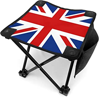 United Kingdom UK Flag Union Jack Emblem Lightweight Portable Camping Stool Folding Chairs Outdoor Fold Up Chairs for Camping Fishing Hiking Gardening and Beach, Camping Seat with Carry Bag