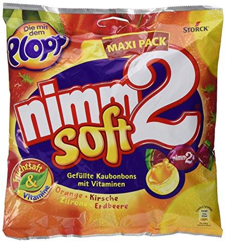 nimm2 soft – Kleine Bonbons mit flüssiger Fruchtsaftfüllung und Vitaminen zum Naschen für Kinder und Erwachsene – (1 x 345g Beutel)