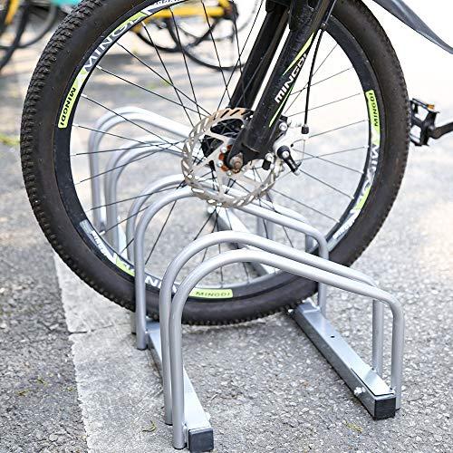 HENGDA Fahrradständer, Für 4 Fahrräder, stahl verzinkt, Boden- und Wandmontage, Aufstellständer Mehrfachständer, LBH: ca. 101 x 32 x 26 cm, Silber