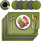 Platzsets 6er Set, Zweiseitig Platzdeckchen Abwaschbar Tischsets rutschfest Lederoptik Platzset 43x30cm und Untersetzer für Hause Küche Restaurant (Grün&Grau)