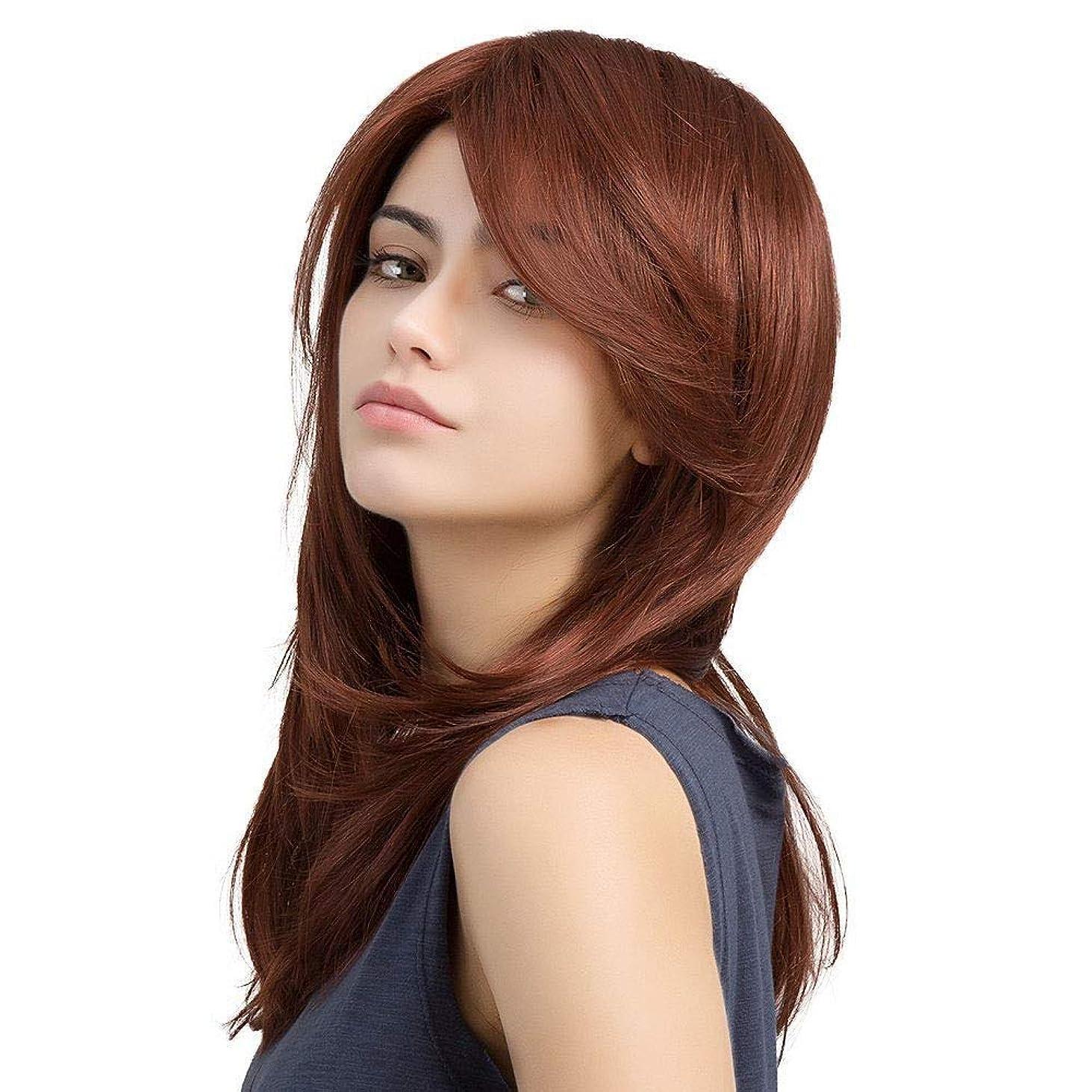 決定招待以下Yrattary 女性の斜め前髪長い巻き毛の赤と茶色の梨バックルロングヘア高温シルクウィッグ合成髪レースのかつらロールプレイングかつら (色 : Reddish brown, サイズ : 45cm)