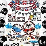 WERNNSAI Articles de Fête pour Voiture de Course - Décorations de Fête d'anniversaire pour Garçons Bannière Balloons Nappes Assiettes Tasses Serviettes Cupcake Toppers Sert 16 Invités 204 Pièces