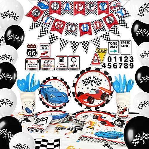 WERNNSAI Rennwagen Partyzubehör Set - Geburtstag Party Dekorationen für Jungen Banner Luftballons Tischdecke Platten Tassen Servietten Cupcake Toppers Utensilien Bedient Für 16 Gäste 204 Stück