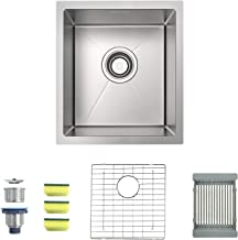 MENSARJOR 15 x 17 Inches 16 Gauge Stainless Steel Undermount Kitchen Sink, Single Bowl Bar Sink with Free Sliding Colander and Basket Drain Strainer