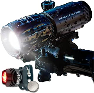 Bright Eyes LED Bike Light Set - 270 Lumens Front Bicycle Headlight With Rear Aluminum Red Tail Light and Spare Mount - WATERPROOF