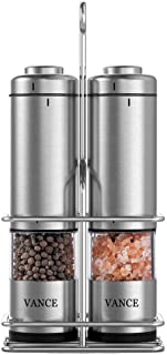 Electric Salt & Pepper Grinder Shaker Mill Set With Stand | Battery Operated | Adjustable Ceramic Coarseness Durable Stainless Steel Mills With Clear Window | For Himalayan & Sea Salt (2 pack)