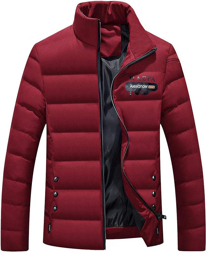 EFFIE Men's Winter Thick Cotton Slim Short Jacket (Red Wine, XXXXL)