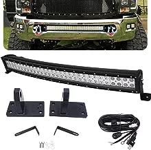 32 inch Curved Light Bar &Hidden Bumper Tow Hook Mounting Bracket for 2010-2018 Dodge RAM 2500/3500/4500 4th Gen