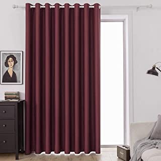 MIULEE Wine Red Blackout Curtain for Living Room Sliding Glass Door Vertical Blind for Room Darkening Extra Wide Window Dr...