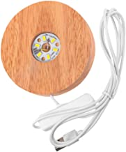 Lurrose Base iluminada de madeira redonda com base de luz de LED suporte para exibição de bola de vidro de cristal