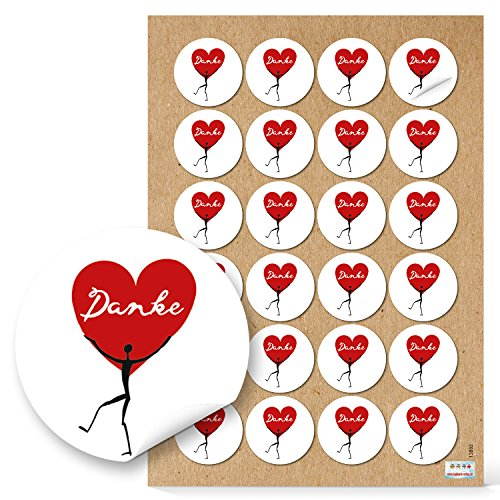 Logbuch-Verlag 48 r&e Aufkleber mit Herz-Motiv - DANKE Sticker 4 cm - Herzaufkleber Geschenkaufkleber Dankesausfkleber für Mitgebsel, Gastgeschenke, K&engeschenke
