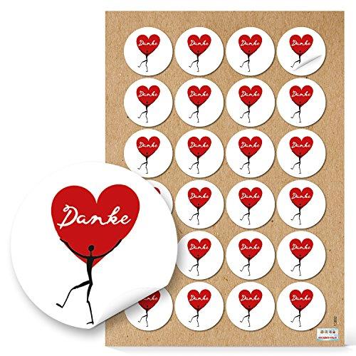 96 DANKE Aufkleber Herz-Aufkleber HERZMENSCH schwarz weiß rot Dankeschön Etiketten Sticker Gastgeschenk Hochzeit Mitgebsel give-away Geburtstag Papiertüten zukleben Dankeskarten basteln