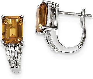 925 Sterling Silver Diamond Whiskey Quartz Hinged Hoop Earrings Ear Hoops Set Drop Dangle Fine Jewelry Gifts For Women For Her