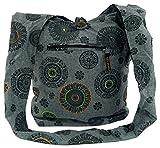 Guru-Shop Sadhu Bag, Goa Tasche, Schulterbeutel - Grau, Herren/Damen, Baumwolle, Size:One Size, 40x35x25 cm, Bunter Stoffbeutel