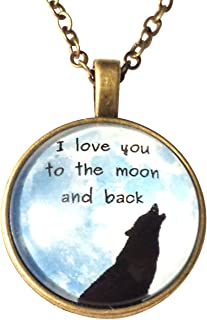 I Love You to The Moon and Back Wolf Necklace with Blue Star Gift Bag