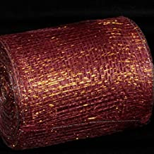 "Wine and Gold Wired Sinamay Abaca Fiber Ribbon 5"" x 32 Yards"