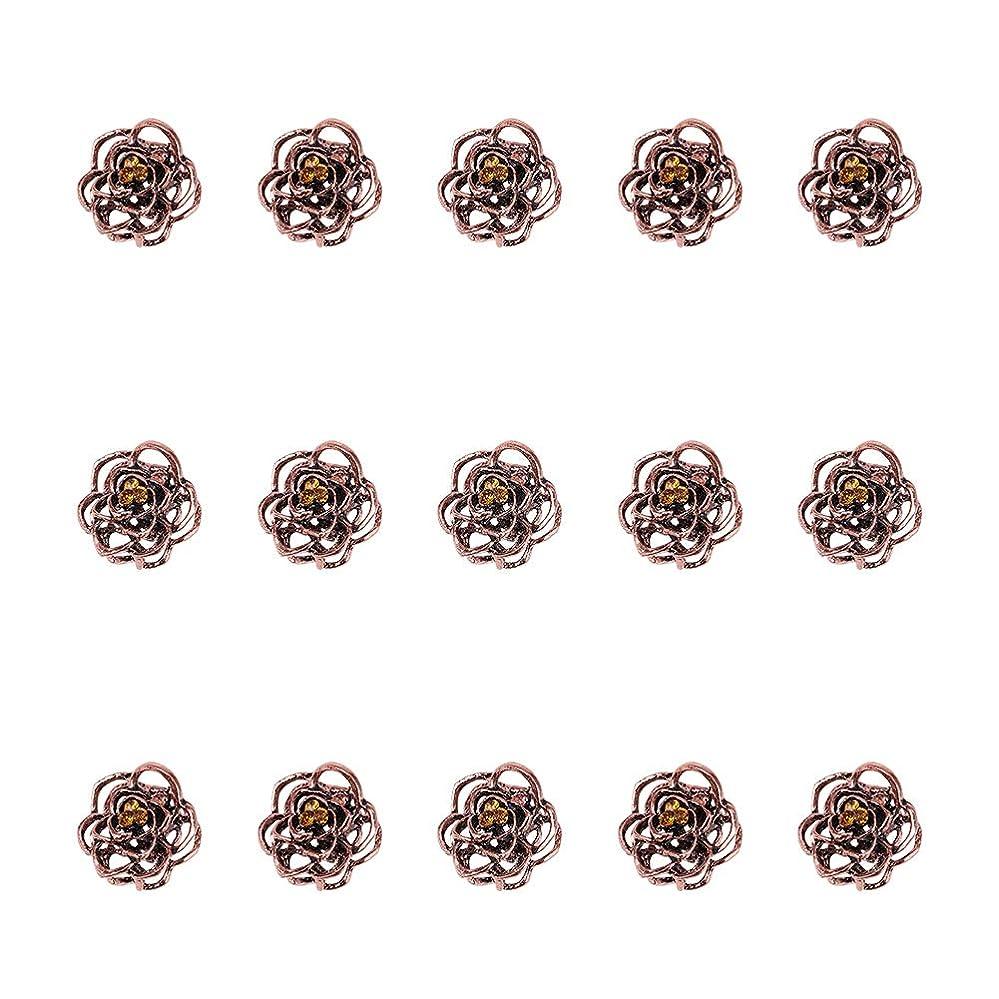 控えめな優遇同様のWANDIC 髪の爪, 15個 ビンテージ 金属 ローズヘアクリップ トパーズクリスタル ミニ髪の爪 女性のための ファインヘアアクセサリー