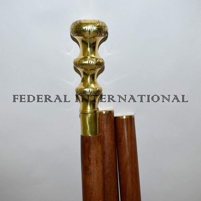 Solid Brass Designer Handle Wooden Walking Stick Cane 36 Inch