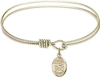 DiamondJewelryNY Double Loop Bangle Bracelet with a St Brendan The Navigator Charm.