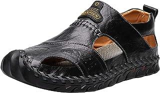 Sandales de Sport pour Hommes, Chaussures de Plage fermées d'été, Sandales Plates décontractées en Cuir, Orteils fermés, A...