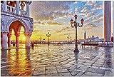 YYTOOF HD Venecia Italia - Piazza San Marco al Amanecer con luz reflejada en los adoquines 9017948 (¡Rompecabezas de 1000 Piezas Premium para Adultos 20x30 Hecho en EE. UU.!)