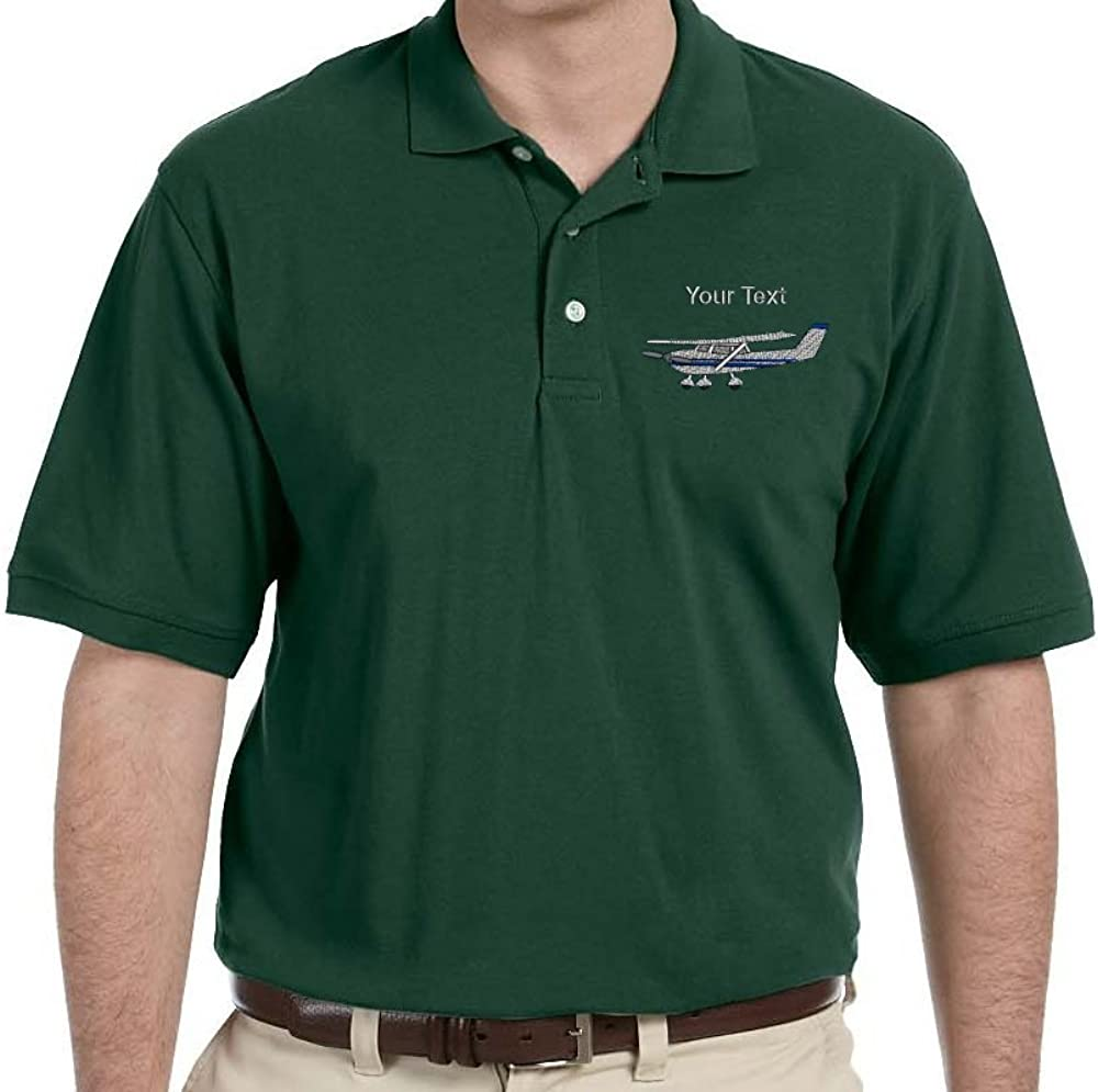 Personalized Custom Embroidered Cessna Airplane Design on Mens Pique (Textured) Polo Shirt
