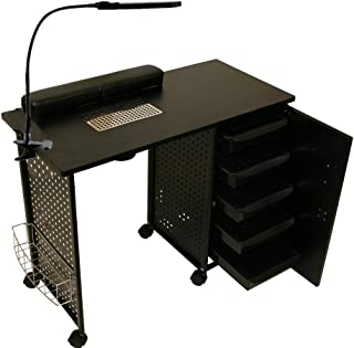 LCL Beauty Black Steel Frame Vented Manicure Nail Table Desk Station Spa Salon Equipment