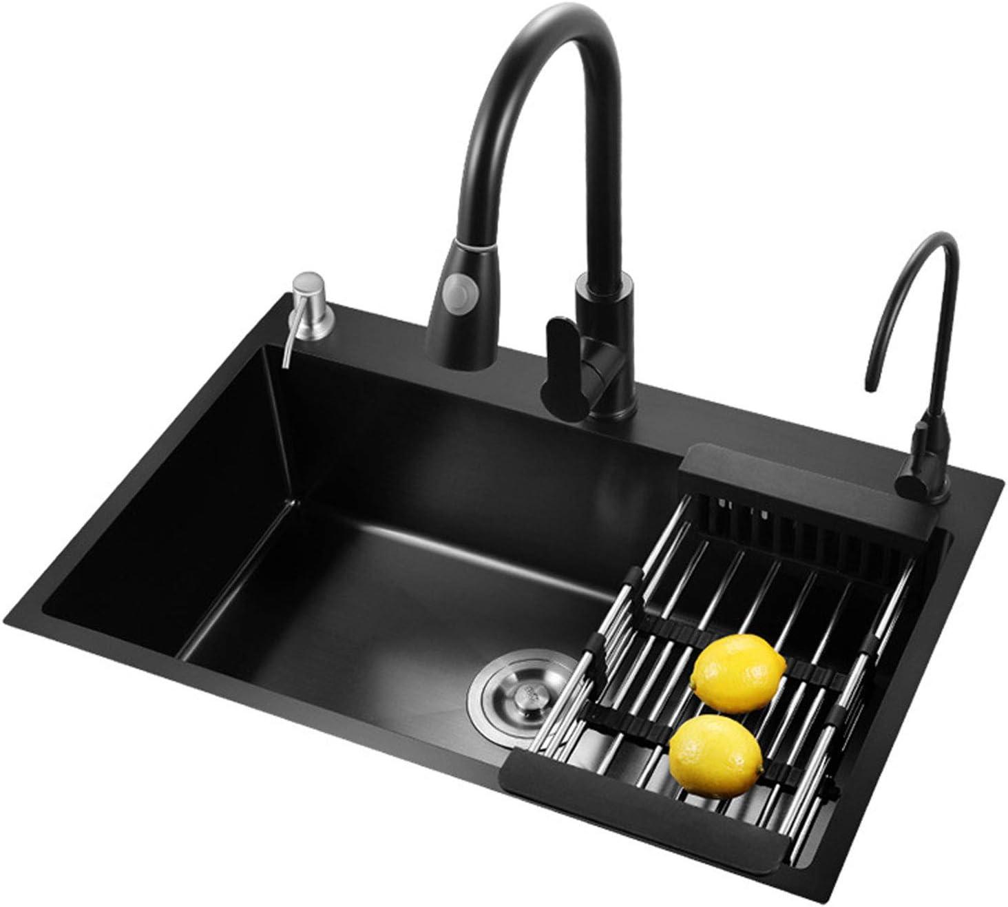 MLMQ Fregadero de Cocina Negro, Fregadero Empotrado Acero Inoxidable con Sifón Automático Dispensador de Jabón Escurridor, Lavabo Cocina Encimera o Enrasado,With tap,65X45cm