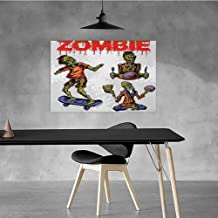 Xlcsomf Modern Oil Painting Zombie Beautifully Decorated Dead Man Eating Brain Cannibal Meditating Skate Boarding Graphic Pattern W28 x L20 Olive Green Red Dust