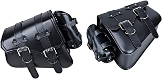 Saddlebag Solo Side Swing Arm Black Triangular PU Leather 2-Strap Tool Bag Compatible with Harley Sportster XL883 XL1200