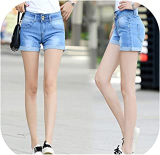 8c544920e Summer Women Casual Vintage High Waisted Denim Women Shorts Slim Stretch  Turn Ups Jeans Shorts