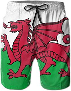 QQMIMIG Breathable Mans Welsh Flag Short Pants