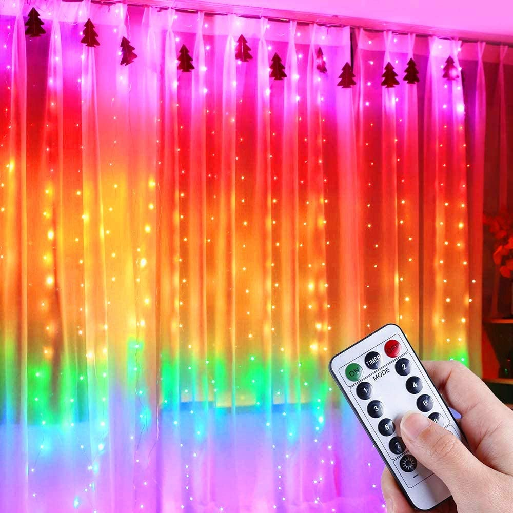 Rainbow Curtain Light 280Leds 8 Modes USB Plug-in Twinkle Fairy LED Copper Wire String Lights for Indoor Outdoor DIY Party Garden Home Festival Holiday Decorations …