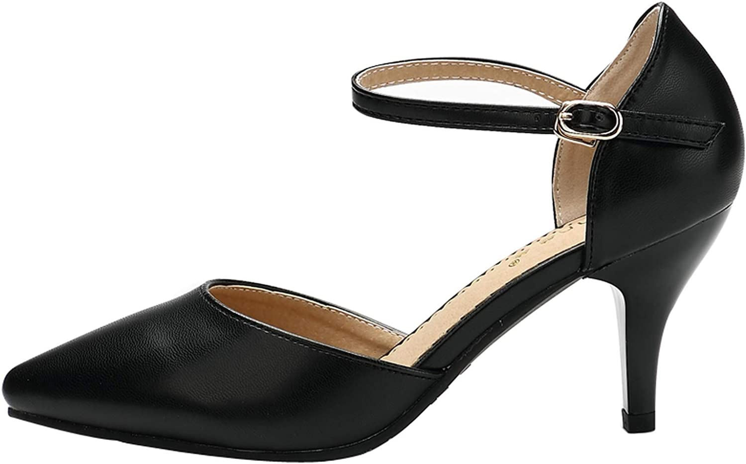 Mao YiE Spring Summer Basic Women Pumps shoes Shallow Buckle Strap Thin Heels Pointed Toe