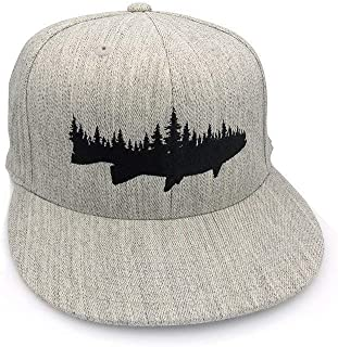Men's Hat - Fish and Forest - Men's Flat Bill & Curved Bill Fitted & Snapback Options Available - Gray or Black Available