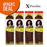 Outre Synthetic Hair Crochet Braids X-Pression Braid 4 In 1 Loop Jerry Curl 14' (4-Pack, 1B)