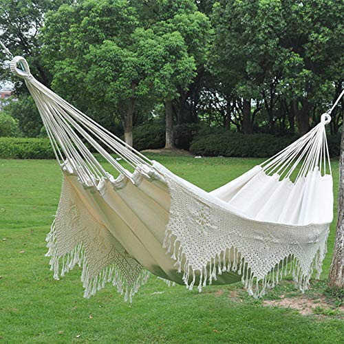 HS-Zak Miller Oversized Double Hammock Pure Cotton Hammock With Fringed White Swing Bed Bohemian Style Hammock For Outdoor Camping Garden Sleeping Load 300 Kg