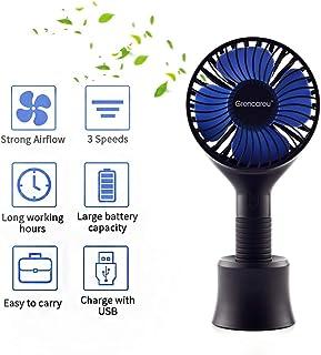 Ventilador de Mano,Mini Ventilador Personal Portátil con Base,Handheld Fan,Ventilador Recargable USB con 3 Velocidads,Personal Portátil para la Oficina, Hogar,Viajar, acampar, Cochecito de Bebé