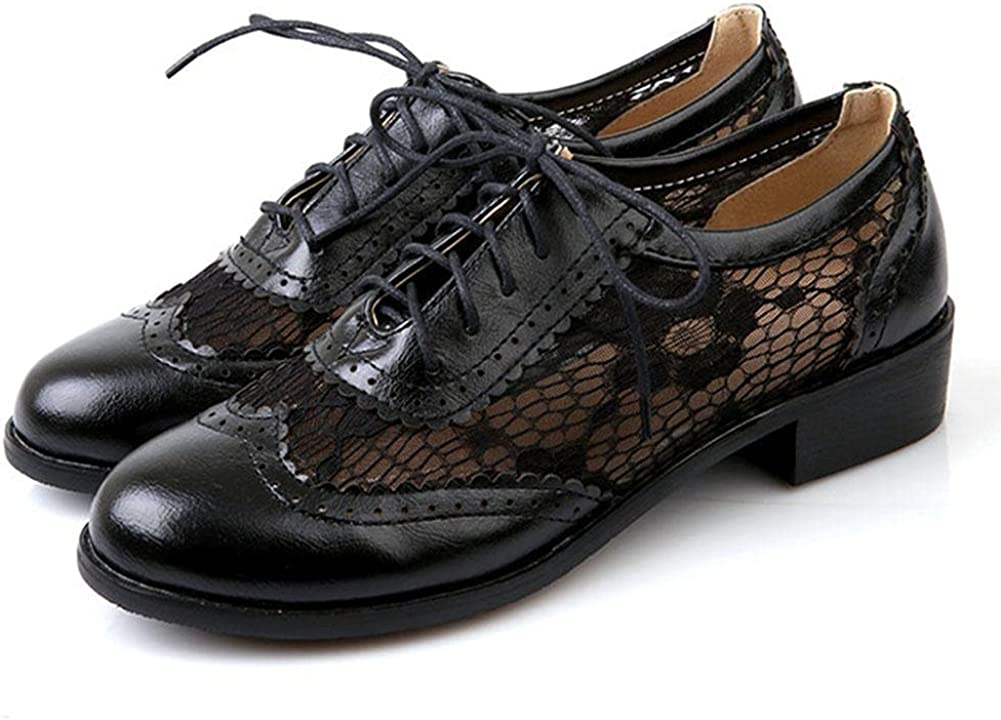 mikarka Women's Perforated Lace-Up Flat Wingtip Ranking integrated 1st place Oxfords Vintage quality assurance