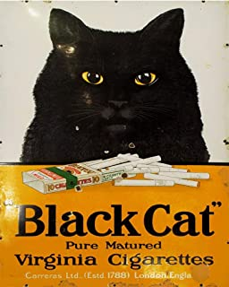 Uptell 8x12 inch Metal Sign-Black Cat Cigarettes Sign Plaque Vintage Retro Tin Sign Wall Home Coffee Decor