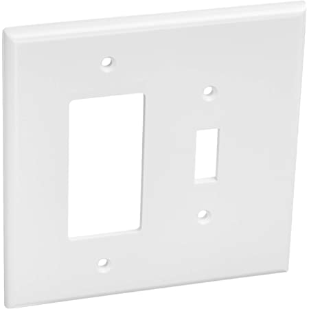 1 Toggle 1 Rocker Combination White Light Switch Cover Decorative Outlet Cover Wall Plate Amazon Com