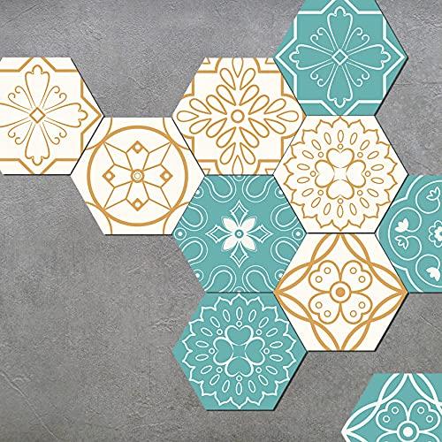 Hexagon Vloer Wandtegels Stickers, Vinyl Waterdichte Antislip Zelfklevende Vloertegels, Patroonstijl Tegels Transfers Decals Voor Woonkamer Keuken Badkamer Trappen (20 PCS,H)