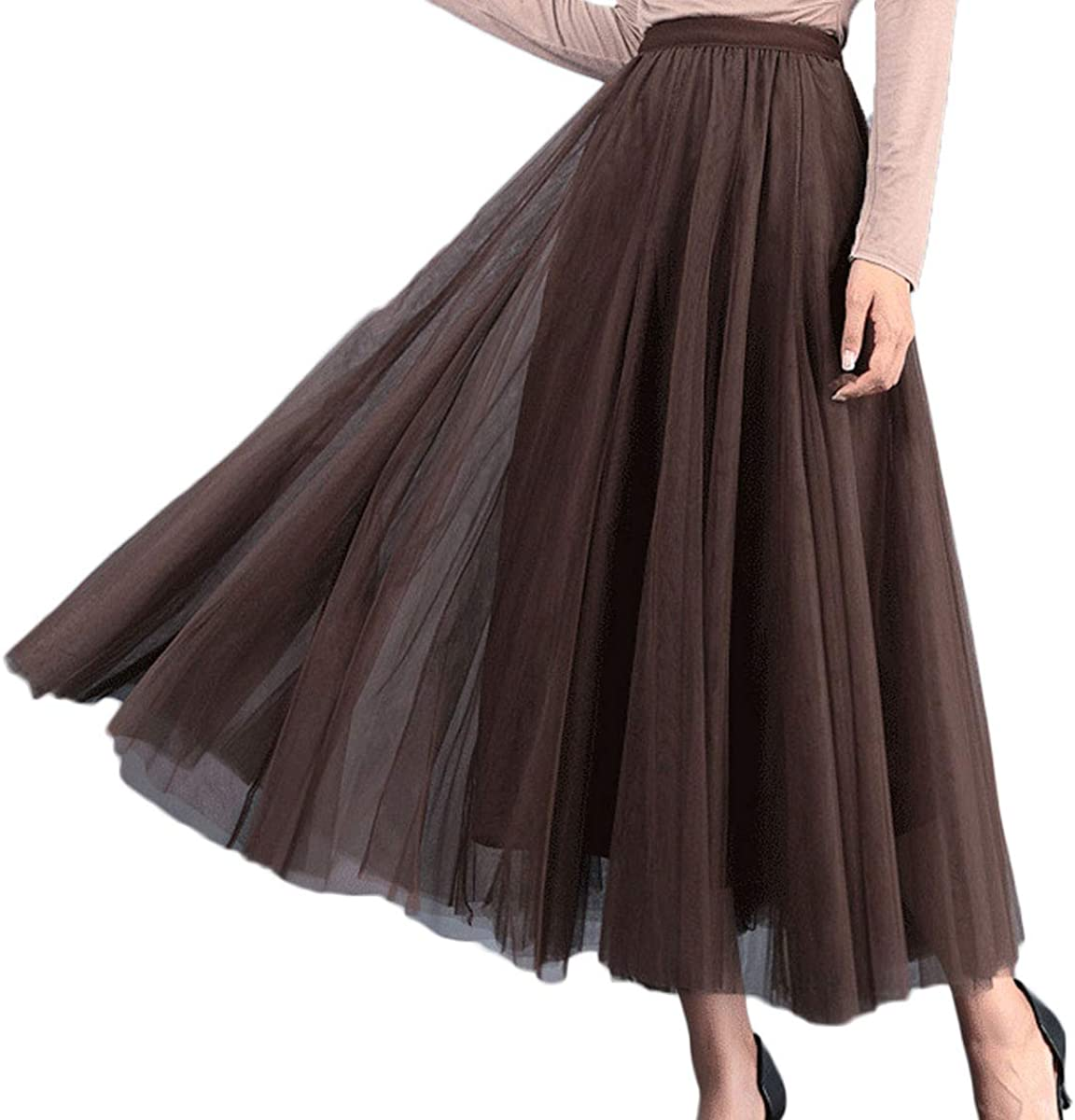 Women Mesh Tulle Stretch High Waist Swing Long Skirts One Size Spring Summer Casual Prom Formal Skirt