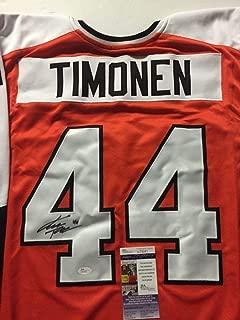 Autographed/Signed Kimmo Timonen Philadelphia Orange Hockey Jersey JSA COA