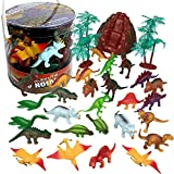 Dinosaur Plastic Action Figure Playset (32pc) - Big Bucket of Dinosaurs for Learning, Play, Projects and Party Favors