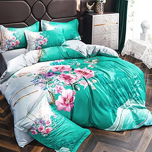 funda de edredón de 105,Juego de cuatro piezas de seda de seda de seda de seda de hielo de verano, cama cómoda sedosa cama solo paquete de seda cubierta de seda, traje de cama de satén suave de lujo-