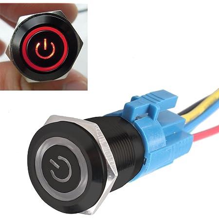 Mintice Trade Schwarz Shell Engel Auge Kfz Kippschalter Druckschalter Schalter Drucktaster Druckknopf 16mm 12v Blau Led Licht Auto
